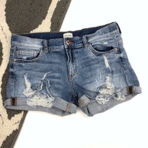 ekAttire Mid Rise Distressed Denim Shorts